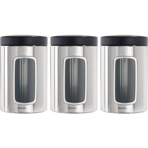 BRABANTIA - Zestaw pojemników z okienkiem 1,4l, 3 szt - stal polerowana