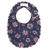 Midnight Floral Scallop Bib