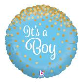 Its A Boy Gold Glitter Balloon