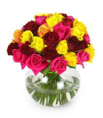 Mixed Bright Rose Bowl