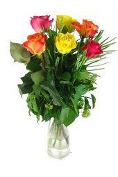 12 mixed roses vase