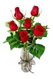 Valentine's 6 Red Rose Vase