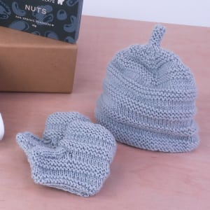 Nippers Knits Booties and Beanie Grey