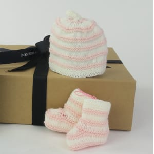 Nippers Knits - pink and white stripe beanie and booties