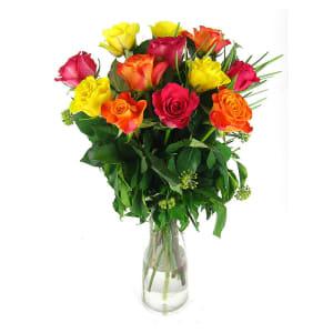 Valentine 12 mixed rose vase