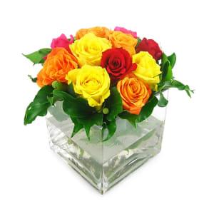 Mixed Bright Rose Vase