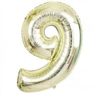 White Gold Foil - Number '9'