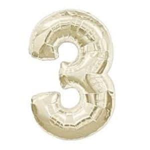 White Gold Foil '3'