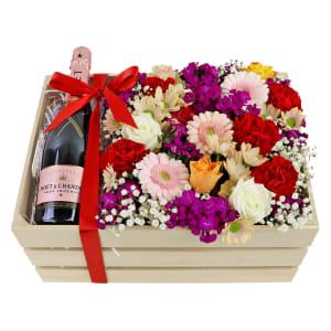 Moet Rose Flower Crate