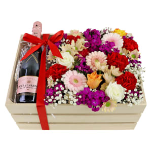 Moet Rose Flower Crate