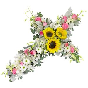 Pop of Pink - Cross Wreath