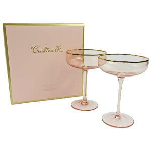 Coupe Rose Crystal Set Of 2