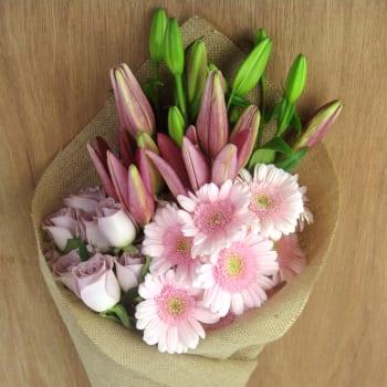 Roses, Mini Gerberas & Lilies