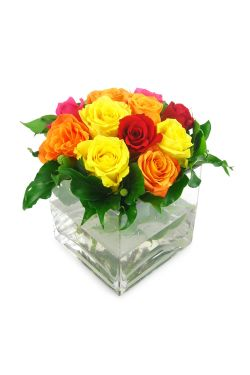 Mixed Bright Rose Vase - Standard