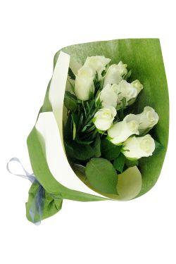 Valentine's Dozen White Roses - Deluxe