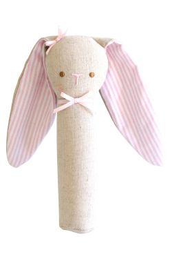 Linen Bunny Squeaker - Pink - Standard