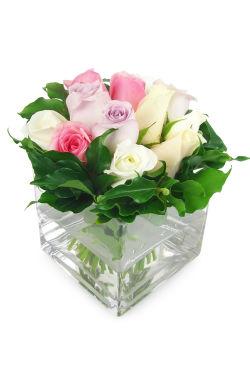 Mixed Pastel Rose Vase - Standard
