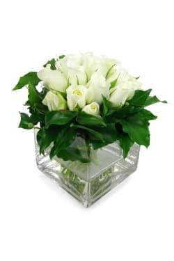 White Rose Vase - Deluxe
