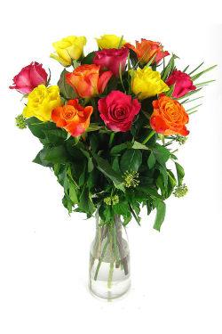 12 mixed roses vase - 12 Roses (One Dozen)