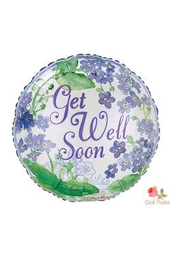Get well soon - purple floral - Standard