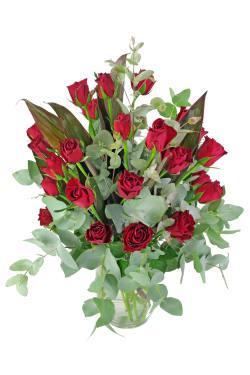 Valentine's 24 Rose Vase - 24 Roses (Two Dozen)