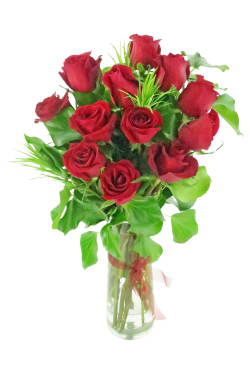 Valentine's 12 Rose Vase - 12 Roses (One Dozen)