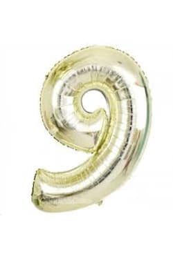 White Gold Foil - Number '9' - Standard