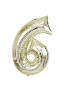 White Gold Foil '6' - Standard