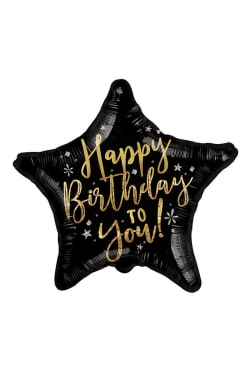 Happy Birthday - Black Star - Standard