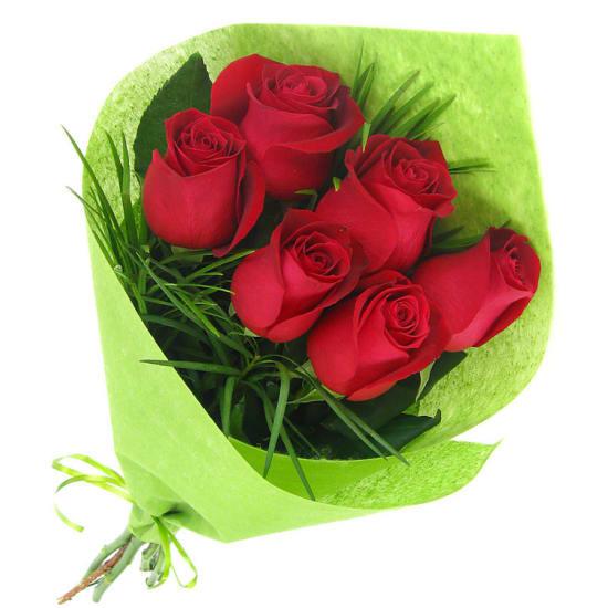 6 Red Roses Bouquet - 6 Roses (Half Dozen)