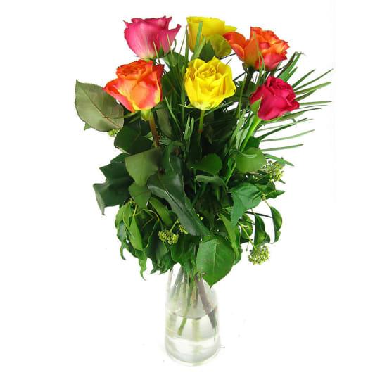 12 mixed roses vase - 6 Roses (Half Dozen)