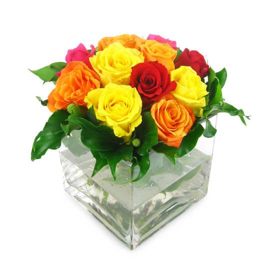 Mixed Bright Rose Vase - Standard