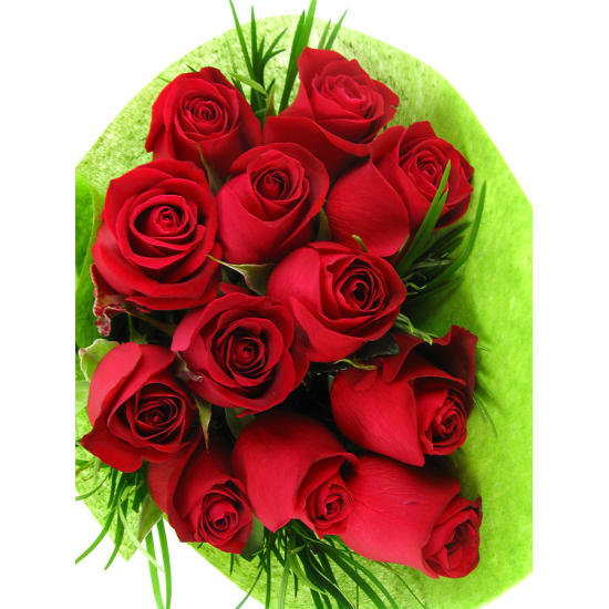 12 Roses Bouquet - 12 Roses (One Dozen)