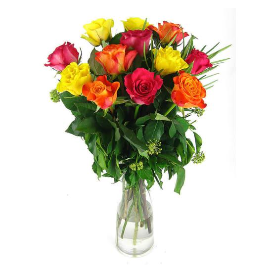Valentine 12 mixed rose vase - 12 Roses (One Dozen)