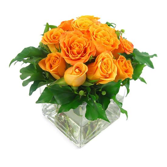 Orange Rose Vase - Standard