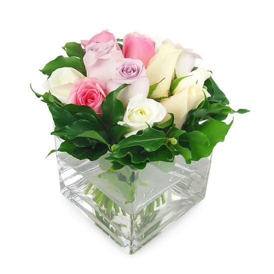 Mixed Pastel Rose Vase - Standard