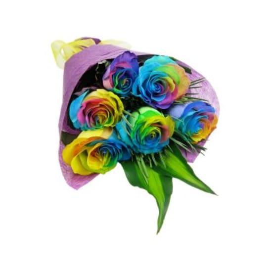 6 Rainbow Roses - 6 Roses (Half Dozen)