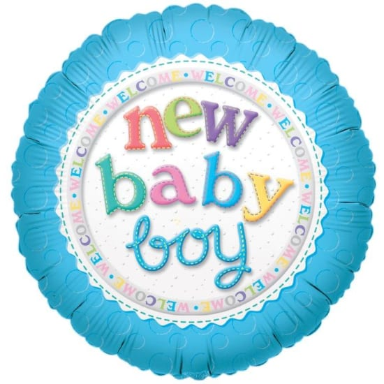 Welcome New Baby Boy Balloon - Standard