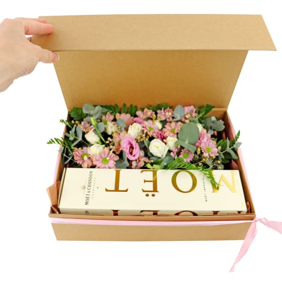 Boxed Moet And Flowers - Standard