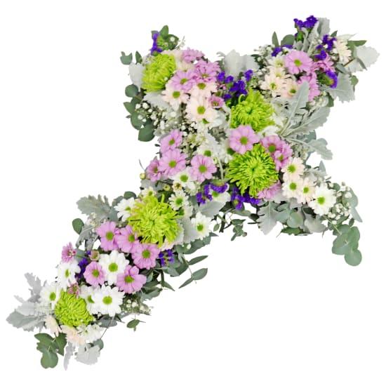 Pastel Farewell Flower Cross - Standard
