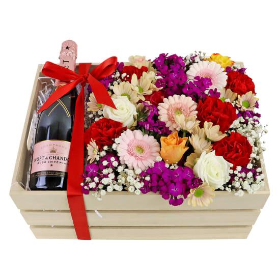 Moet Rose Flower Crate - Standard