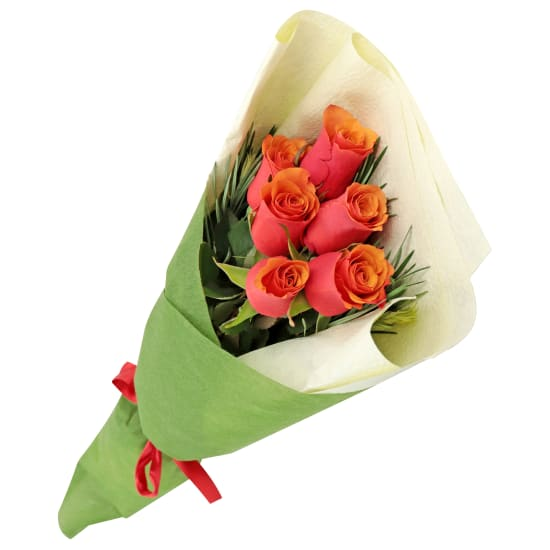 Orange Roses - 6 Roses (Half Dozen)