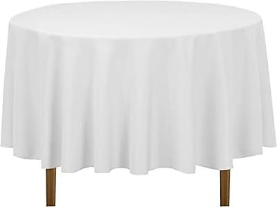 "90"" White Polyester Round Linens"