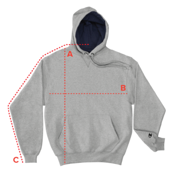 Champion Hoodie - Product Measurements