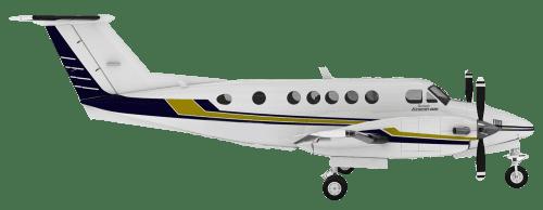 Side profile of Beechcraft B200 King Air 200 aircraft