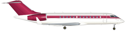 Side profile of Bombardier 700 Global Express aircraft