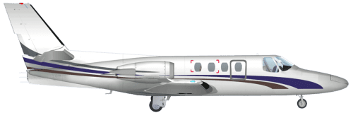 Side profile of Cessna 500 Citation I aircraft