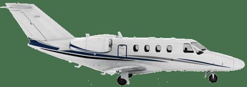 Side profile of Cessna 525 CitationJet aircraft