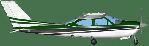 Side profile of Cessna 177 RG Cardinal aircraft