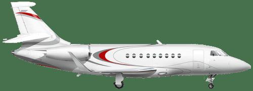 Side profile of Dassault 2000 Falcon 2000 aircraft